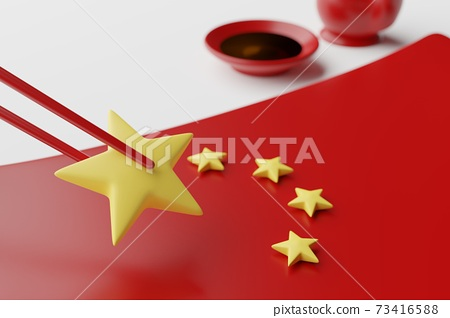Tableware Chinese flag plate, chopstick, spoon, sauce cup and pot, 3D rendering red color, Chinese food crisis concept design on white background 73416588