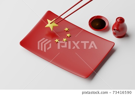 Tableware Chinese flag plate, chopstick, spoon, sauce cup and pot, 3D rendering red color, Chinese food crisis concept design on white background 73416590