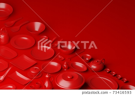 Chinese tableware bowl, cup, pot, teapot, chopstick, plate and dish 3D rendering multiple red color, Food asian culture concept design on red background with copy space 73416593
