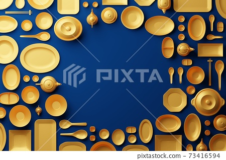 Chinese tableware bowl, cup, pot, teapot, chopstick, plate and dish 3D rendering multiple gold color, Food asian culture concept design on blue background with copy space 73416594