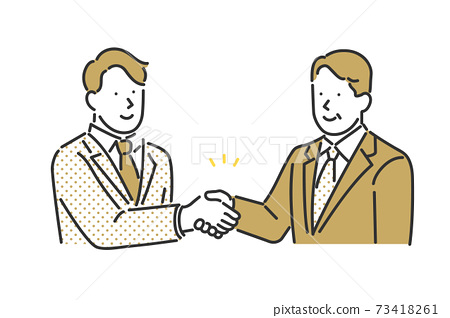 Illustration material of a business person shaking hands with a business partner 73418261