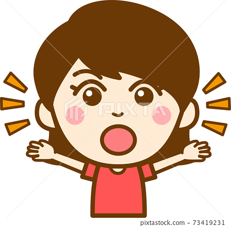 Illustration of the upper body of a girl who raises both hands and appeals emotion and surprise 73419231