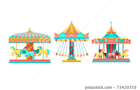 Merry-go-round with Horses as Amusement or Entertainment Park Attractions Vector Set 73420358
