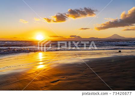 [神奈川縣]江之島,西Kat瀨和富士山的美麗夜景 73420877