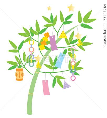竹草和七夕裝飾的插圖 73421284