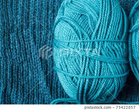 Blue cotton and wool knitting yarn 73422857