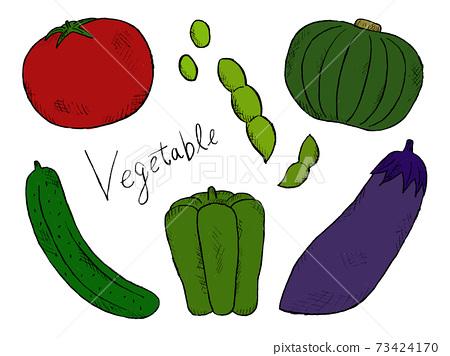 蔬菜和蔬菜的手繪插圖圖像 73424170