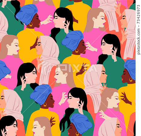 Seamless colorful women of different races empowerment pattern. International women's day. Flat vector design. 73426973