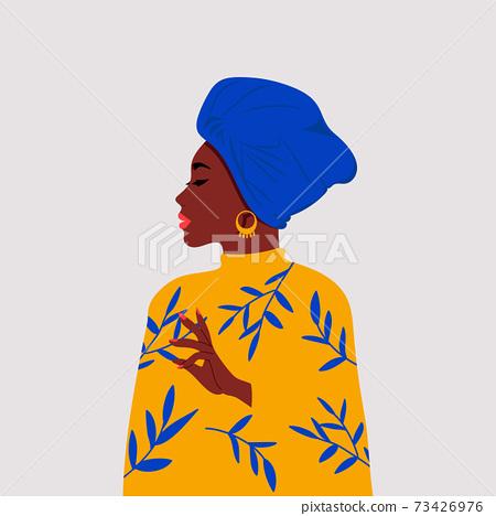 African woman side profile wearing a head wrap called gele. International women's day clip art. Flat vector design. 73426976