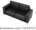 Sofa leather on white background with clipping path 3D illustration. 3D rendering illustrations. 73430737