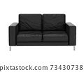 Sofa leather on white background with clipping path 3D illustration. 3D rendering illustrations. 73430738