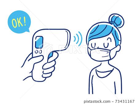 矢量圖素材:檢查婦女的體溫,體溫計,體溫計,體溫計 73431167