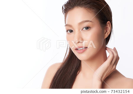 Beautiful young asian woman with clean fresh skin on white background, Face care, Facial treatment, 73432154