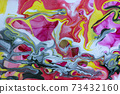 Abstract background with flow down acrylic paint. 73432160