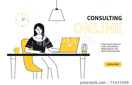 Consulting online - colorful line design style web banner 73433399