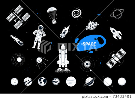 Space elements - modern flat design style objects 73433401