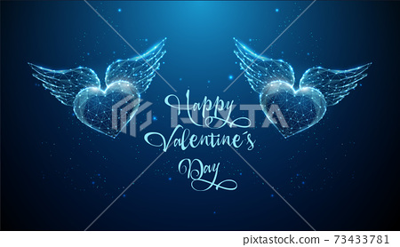 Abstract flying blue hearts with wings. Happy Valentine's day card. 73433781