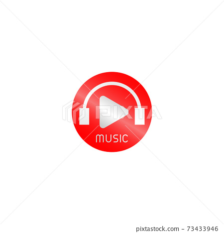 Audio Streaming Channel Logo Design Concept, Red, White, Rounded Ellipse Logo Template 73433946