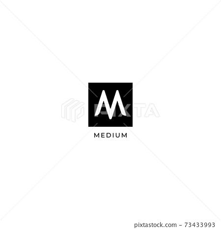 Letter M Logo Design Template, Square Logo Concept, Black & White, Simple & Clean 73433993