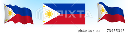 Flag of the Republic of the Philippines in a static position and in motion, developing in the wind, on a white background 73435343
