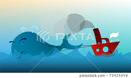 fishing boat, trawler in the open sea drags a whale. The extermination of animals. Prohibited fishing. Illustration in cartoon style, vector 73435459