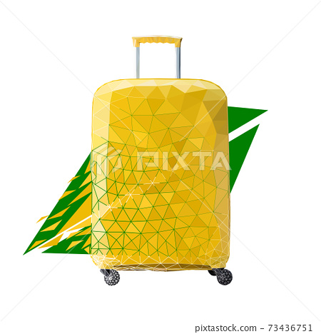 Vector suitcase in low poly style. Digital art 73436751