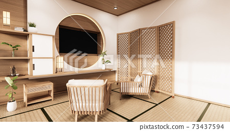 the circle wall design room Japanese - zen style,minimal designs. 3D rendering 73437594