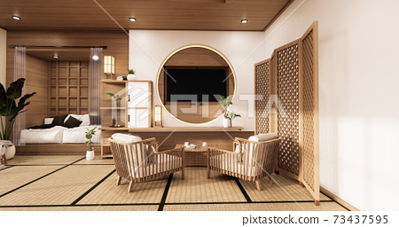 the circle wall design room Japanese - zen style,minimal designs. 3D rendering 73437595