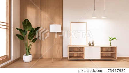 The frame on cabinet in modern living room, 3d rendering 73437922
