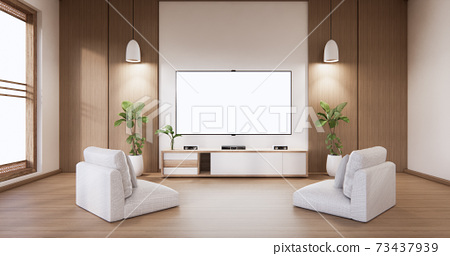 Mock up TV cabinet display with modern room white minimalist. 3d rendering 73437939