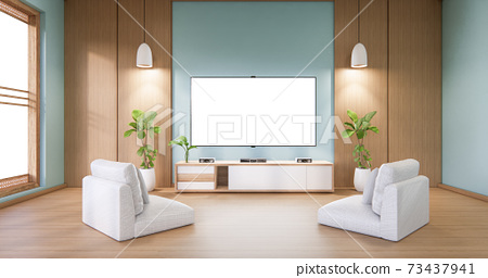 Mock up TV cabinet display with modern room mint minimalist. 3d rendering 73437941