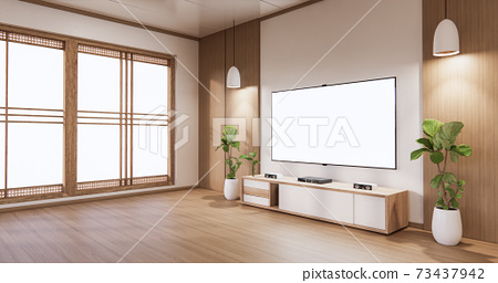 Mock up TV cabinet display with modern room white minimalist. 3d rendering 73437942