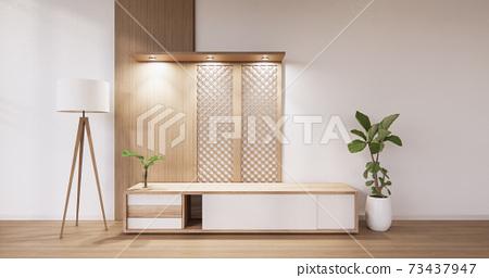 Cabinet wooden design on white room interior modern style.3D rendering 73437947