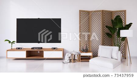White room white flooring minimalist Japanese living room. 3d rendering 73437959