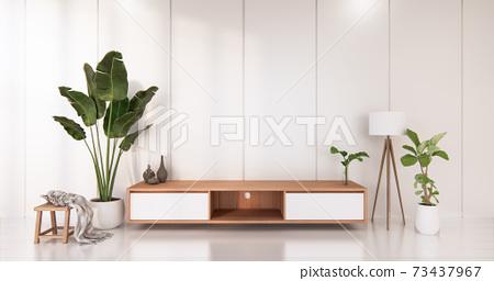 White room white flooring minimalist Japanese living room. 3d rendering 73437967
