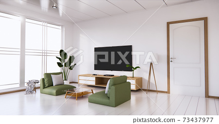 TV cabinet display with white room white flooring minimalist Japanese living room. 3d rendering 73437977