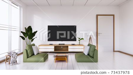 TV cabinet display with white room white flooring minimalist Japanese living room. 3d rendering 73437978