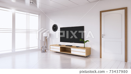 TV cabinet display with white room white flooring minimalist Japanese living room. 3d rendering 73437980