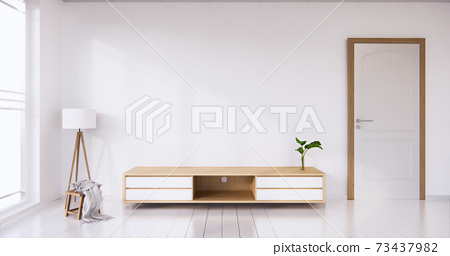 TV cabinet display with white room white flooring minimalist Japanese living room. 3d rendering 73437982