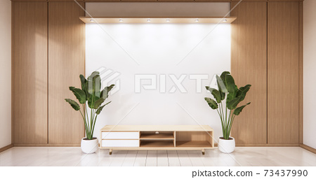 Empty wooden Cabinet on wooden room tropical style.3D rendering 73437990