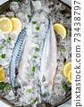 fresh mackerel on crushed ice with lemon 73438797