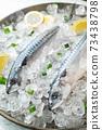 fresh mackerel on crushed ice with lemon 73438798