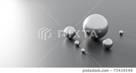 chrome ball spheres in different sizes 3d render illustration 73439599