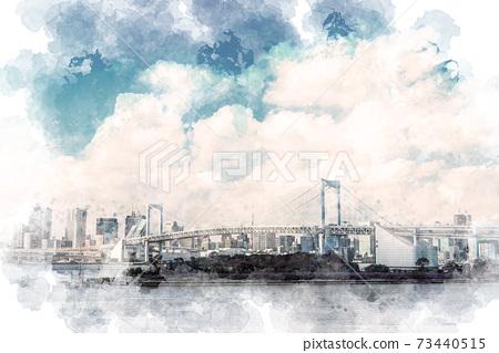 白天彩虹橋水彩風格 73440515