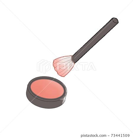 핑크 치크와 메이크업 브러쉬 73441509