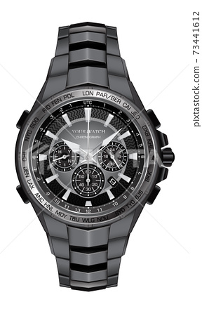Realistic watch clock chronograph steel black face for men design luxury on white background vector illustration. 73441612