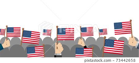 소형 국기 집단 군중 일러스트 (애국심 이벤트 축하 데모) / 미국 USA 73442658