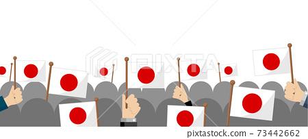 Hand-held national flag group / crowd illustration (patriotism / event / celebration) / Japan / Hinomaru 73442662