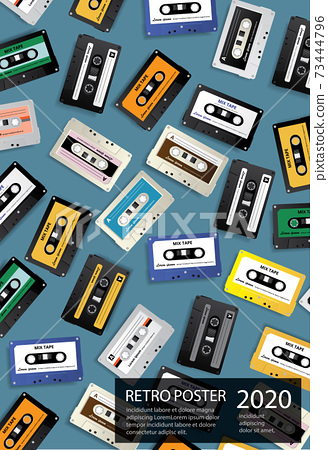 Vintage Retro Cassette Tape Poster Design Template Vector Illustration 73444796