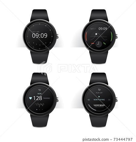Smart Watch with Digital Display Set Vector Illustration 73444797
